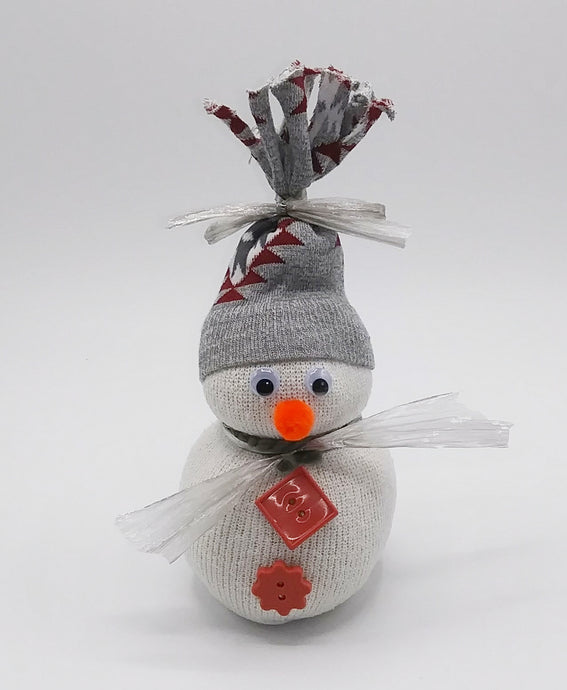 Sock Snowman Gray Hat
