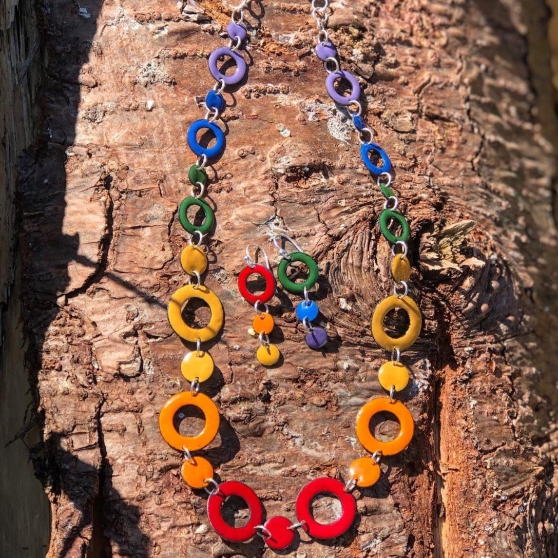 Rainbow Earring and Necklace Set