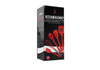 RED 10 PIECE HARD SILICON UTENSIL SET