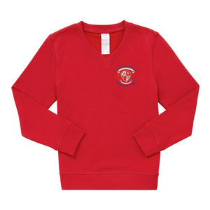 Farnham Common Junior School V-Neck Sweatshirt - Red