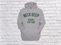 'Generic Pop Punk' Hoodie - Grey/Forest Green