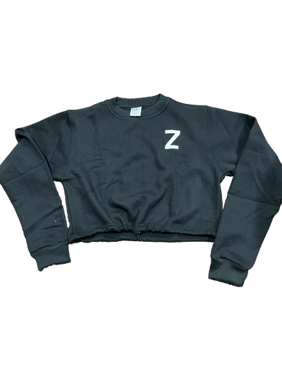 Womens Sweatshirt Cropped - Black