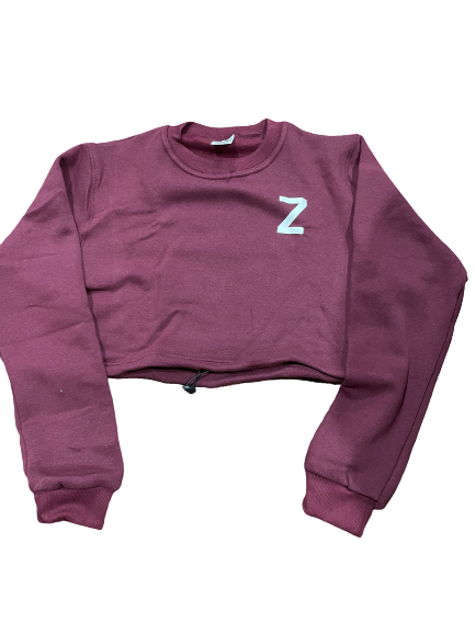 Womens Sweatshirts Cropped - Burgundy