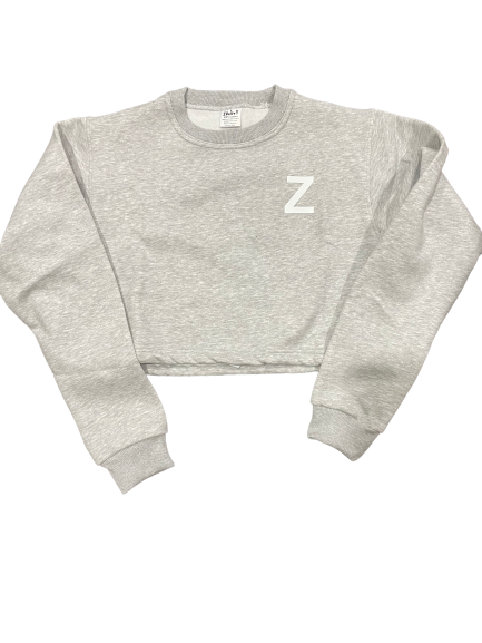 Womens Sweatshirt Cropped - Gray