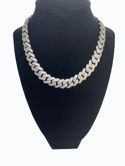 Diamond Cuban Link Chain  - White Gold