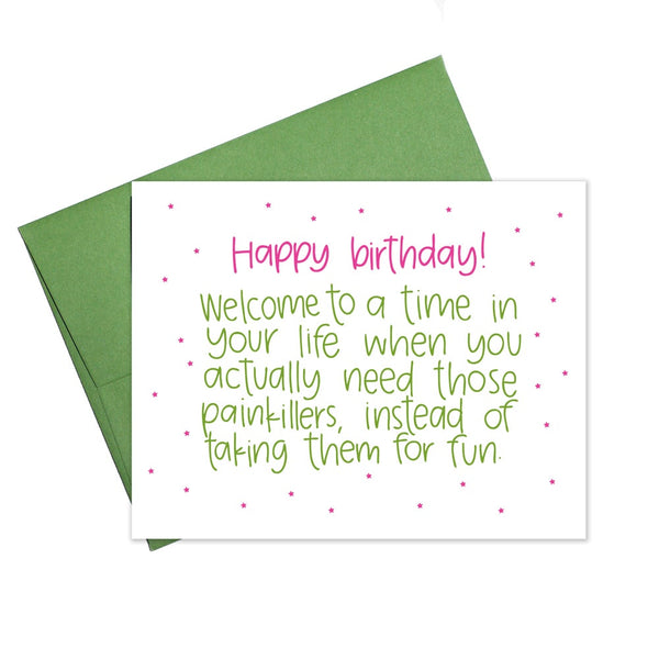 Birthday Painkillers Card - 6 single cards