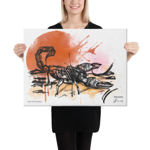 A Canvas Art Print of a Scorpion  with a graphic, artistic background.