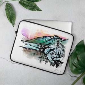 Resting Wolf Artwork on a 13 inch Laptop Sleeve.