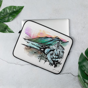 Resting Wolf Artwork, on a 15 inch Laptop Sleeve.