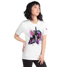 Load image into Gallery viewer, Display of the Consequences T-Shirt on a model, wearing the white shirt.