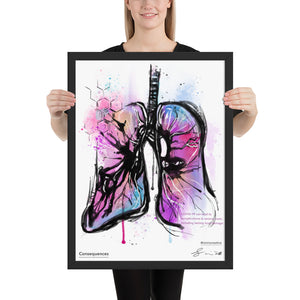 Consequences Art Print depicting complications of COVID-19 to the lungs, available as an 18 x 24 Framed Art Print.