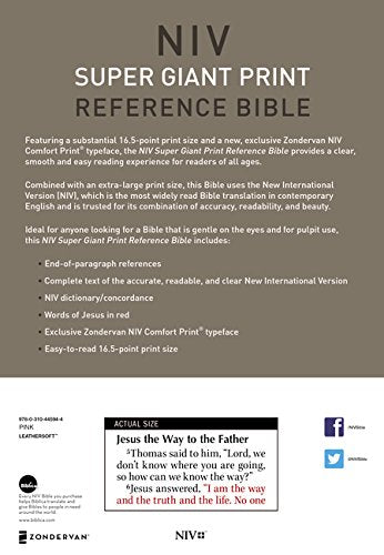 NIV, Super Giant Print Reference Bible, Leathersoft, Pink, R Imitation Leather – Large Print,