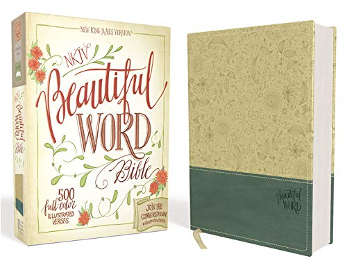 NKJV, Beautiful Word Bible, Leathersoft, Tan/Blue, Red Letter Edition: 500 Full-Color Illustrated Verses Imitation Leather – Import,