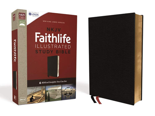 NKJV, Faithlife Illustrated Study Bible, Premium Bonded Leather, Black, Red Letter Edition: Biblical Insights You Can See Bonded Leather – Import,