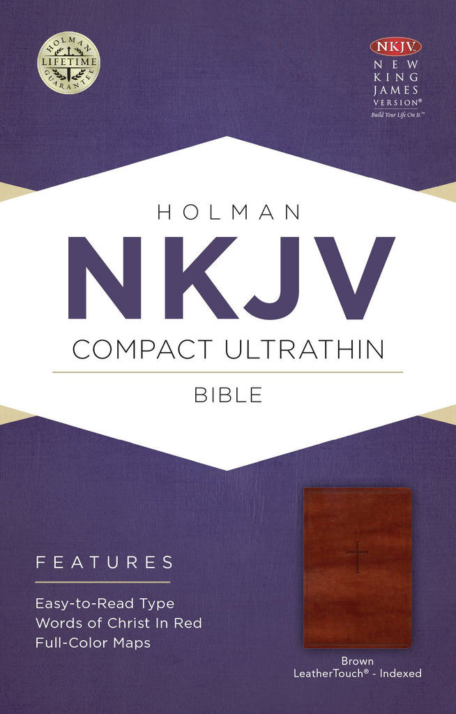 NKJV Compact Ultrathin Bible, Brown Cross LeatherTouch, Indexed Imitation Leather – Import,