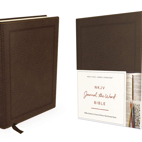 NKJV, Journal the Word Bible, Bonded Leather, Brown, Red Letter Edition: Reflect, Journal, or Create Art Next to Your Favorite Verses Bonded Leather