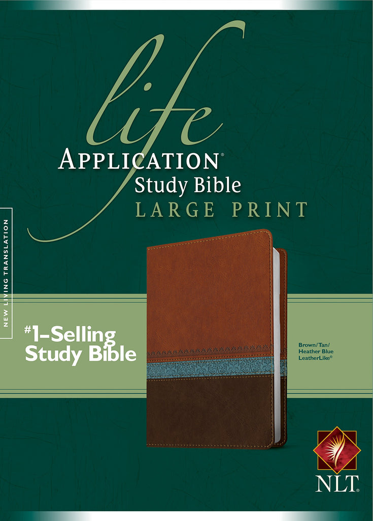 NLT Life Application Study Bible Large Print Brown/Tan/Blue Imitation Leather – Large Print,