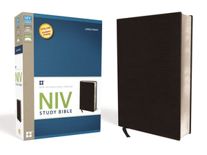 NIV Study Bible, Large Print, Lether Red Letter Edition Bonded Leather – Large Print,