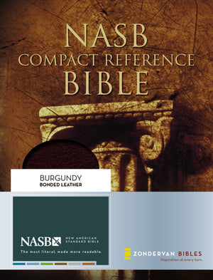 NASB, Compact Reference Bible, Bonded Leather, Burgundy, Red Letter Edition Leather Bound