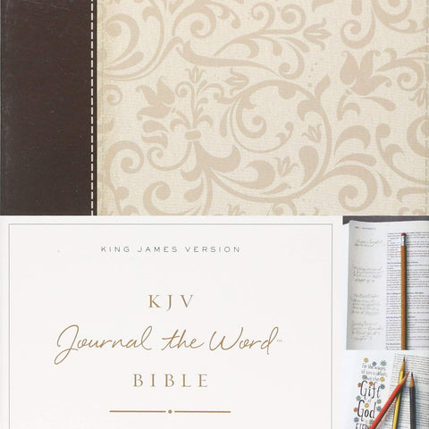 KJV, Journal the Word Bible, Leathersoft, Brown/Cream, Red Letter Edition: Reflect, Journal, or Create Art Next to Your Favorite Verses Leather Bound