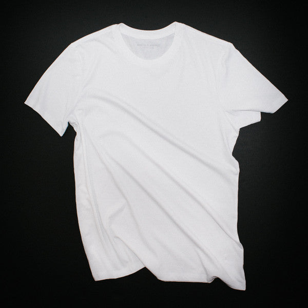 Clean, minimal, premium, pima cotton, white t-shirt