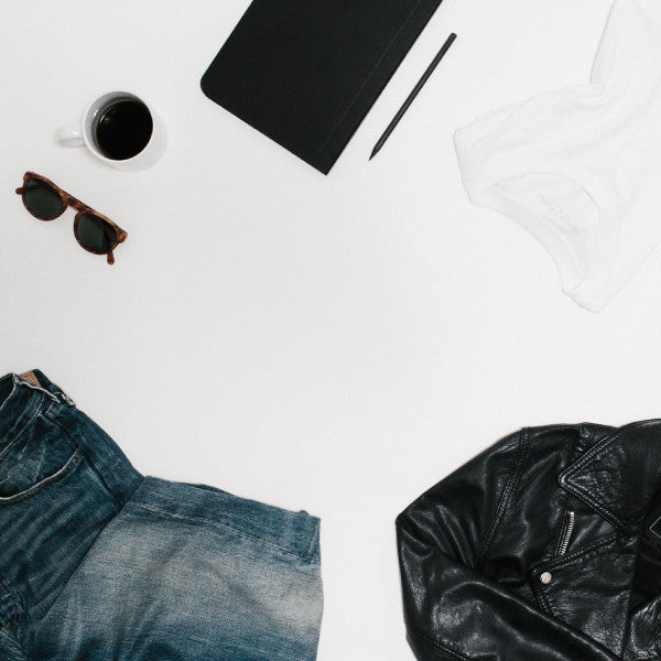 Essential, wardrobe capsule, denim, leather, white tee