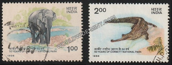 1986 50 Years of Corbett National Park-Set of 2 Used Stamp