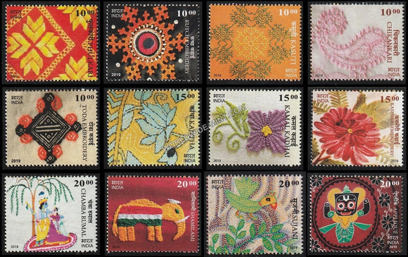 2019 Embroideries of India-Set of 12 MNH