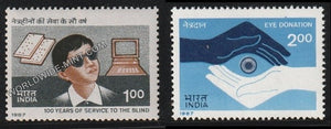 1987 100 years of Service to the Blind - Set of 2 MNH