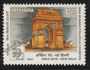 1987 India-89 (World Philatelic Exhibition)-India Gate, New Delhi MNH