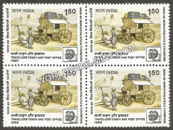 1989 India 89-Traveller's coach Post Office Block of 4 MNH