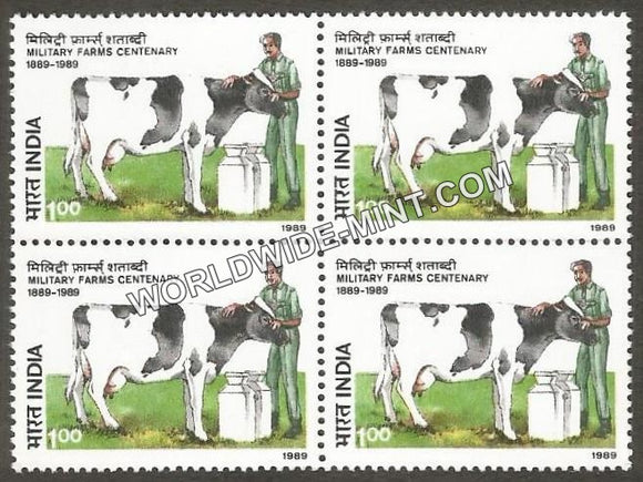 1989 Military Farms Centenary Block of 4 MNH