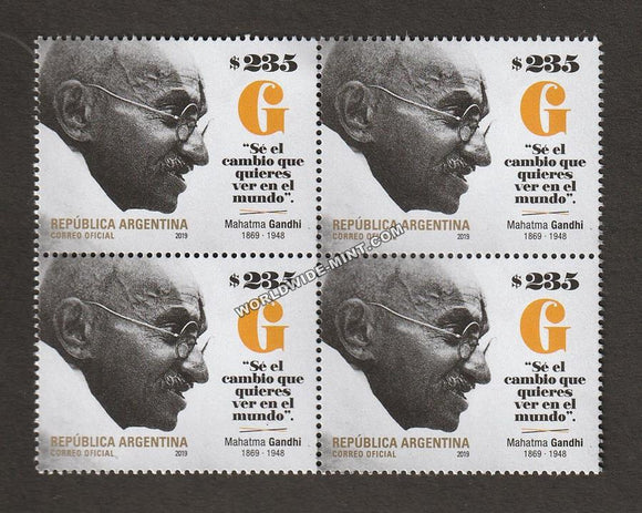 2019 Argentina Gandhi Block of 4