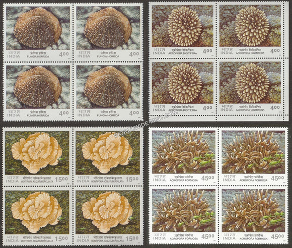 2001 Corals of India-Set of 4 Block of 4 MNH