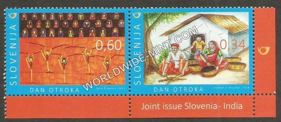 2014 Slovenia India Joint issue Setenant Pair
