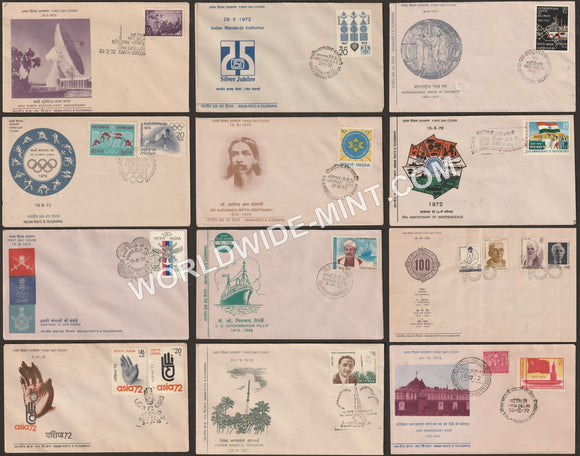1972 Complete Year Pack FDC