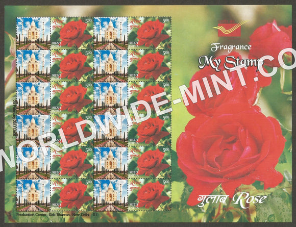 2017 India Rose Fragrance, My stamp sheetlet Type 1  in Presentation Pack. One & only Mystamp with Fragrance