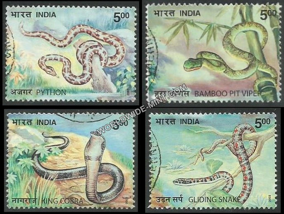2003 Nature India-Snakes-Set of 4 Used Stamp