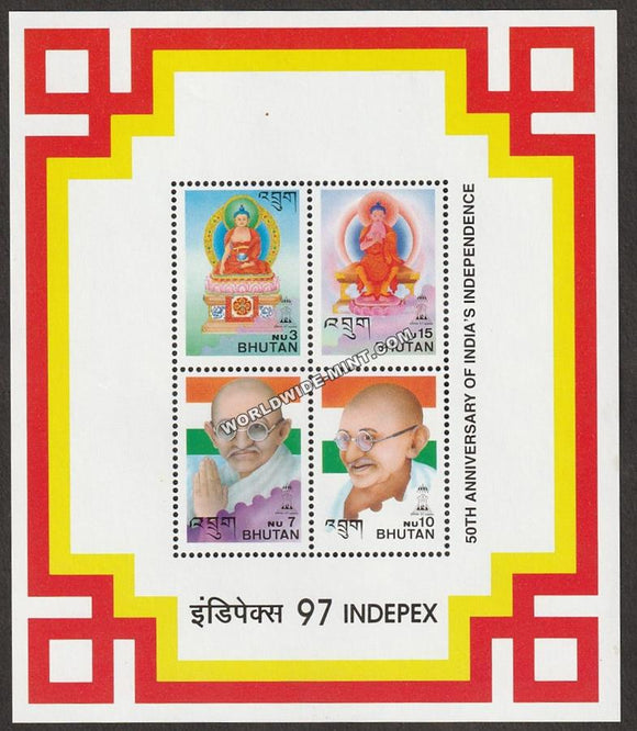 1997 Bhutan Gandhi 4V MS issued on INDEPEX '97