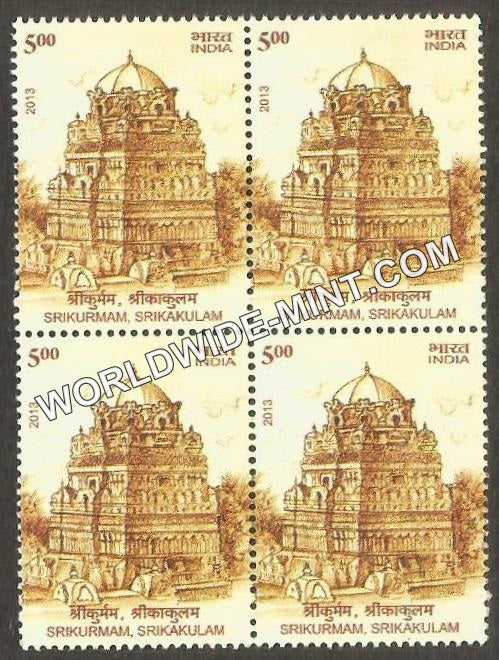 2013 Architectural Heritage-Srikurmam Temple Block of 4 MNH