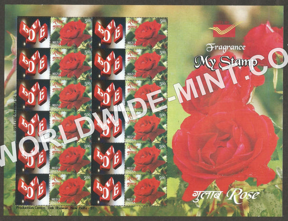 2017 Rose Fragrance, My stamp sheetlet Type 2 in Presentation Pack. One & only Mystamp with Fragrance
