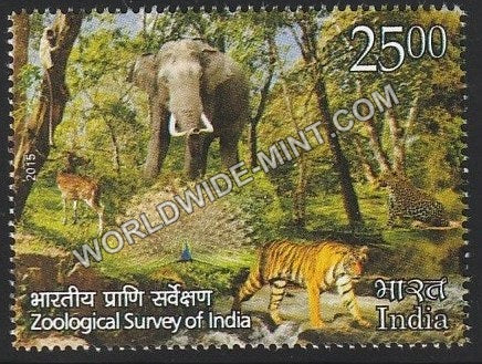 2015 Zoological Survey of India-Cheetah, Elephant,Peacock,Tiger, Deer MNH