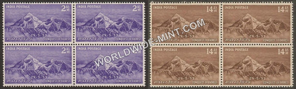 1953 Conquest of Everest-Set of 2 Block of 4 MNH