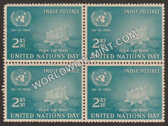 1954 United Nations Day Block of 4 MNH