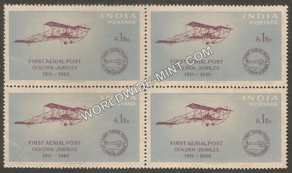 1961 First Official Airmail Flight-Biplane & First Aerial Post Cancellation Block of 4 MNH