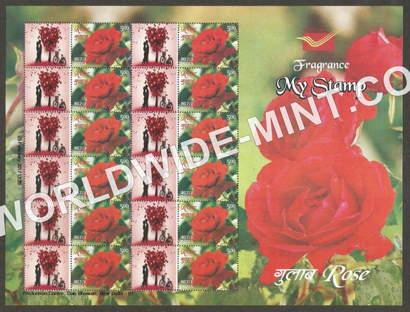 2017 India Rose Fragrance, My stamp sheetlet Type 3 in Presentation Pack. One & only Mystamp with Fragrance