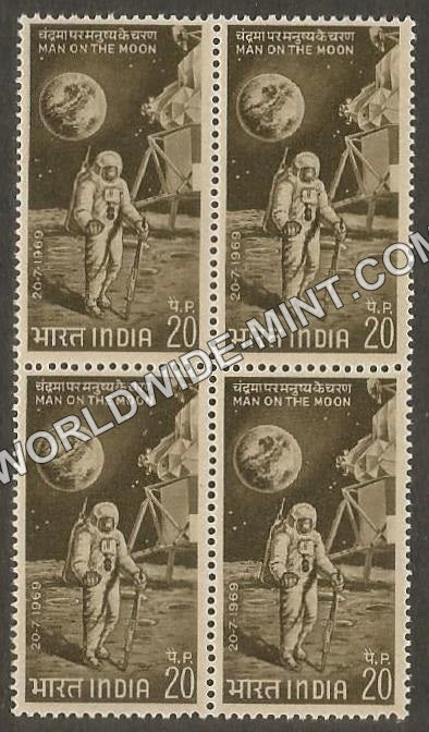 1969 First Man Man on the Moon Block of 4 MNH