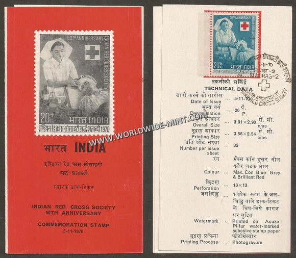 1970 Indian Red Cross Society-50th Anniversary Brochure with Stamp