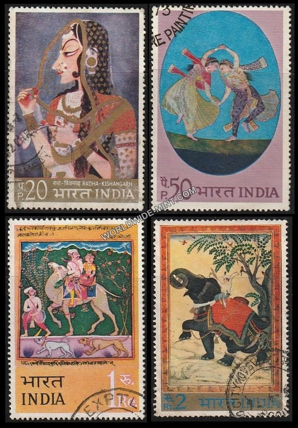 1973 Indian Miniature Paintings-Set of 4 Used Stamp