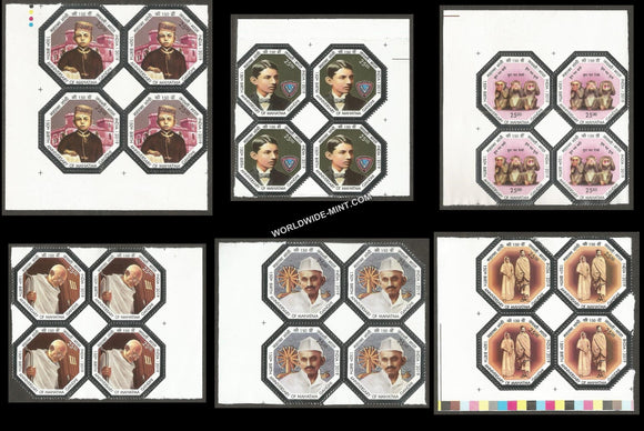 2019 150th Birth Anniversary Mahatma Gandhi-Set of 6 Block of 4 MNH